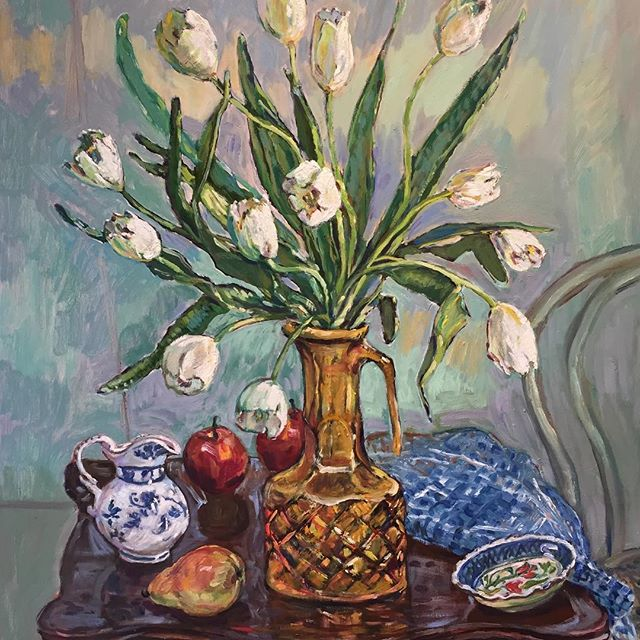 White Tulips 2019 oil on poly cotton 76cms H x 61cms W Unframed. Direct message me for price.