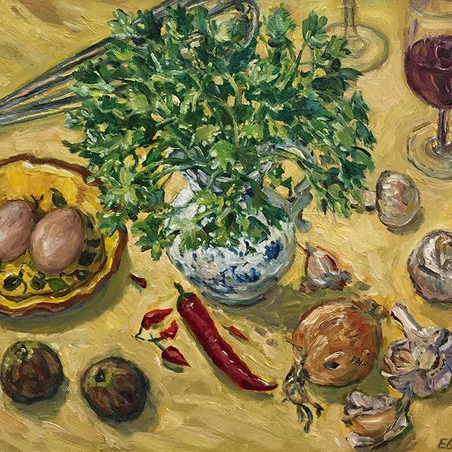 Kitchen Stuff 2019 Oil on Linen 30cms H x 40cms W. Available. Either Direct Message on Instagram or visit my website for email. www.elizabethgairpalmer.com.au #brisbaneartist#brisbaneart#kitchen#food#wine#feast#parsley#garden#vegetables
