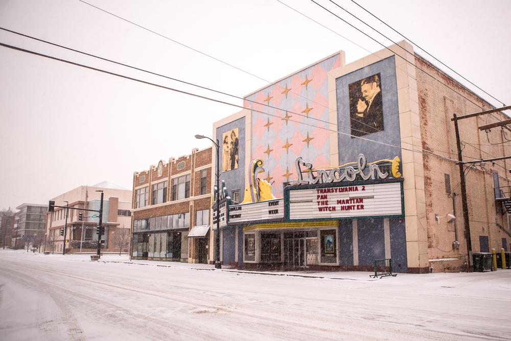 We woke up in Cheyenne the first morning to a winter wonderland and dreamy theater across the street from us.