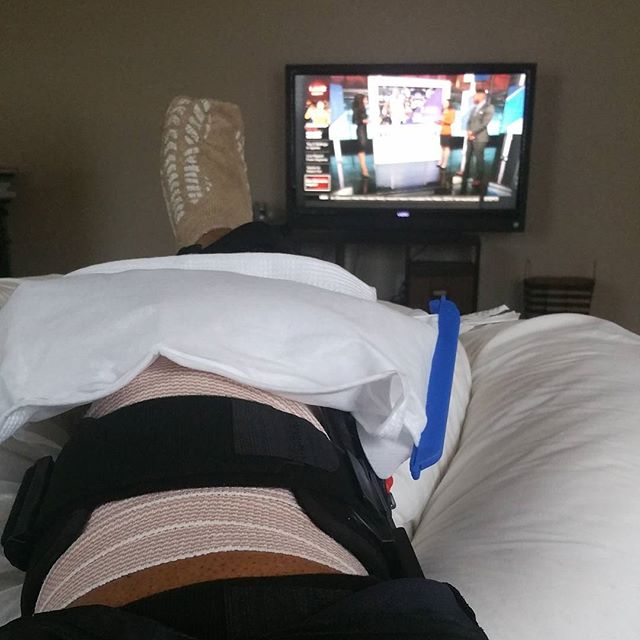 Back at to house recuperate from early morning acl surgery.  God give me strength.!! Will be back on the grind soon.