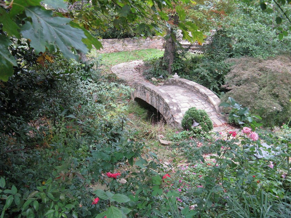 Stone bridge, 18' x 6', with elliptical arch