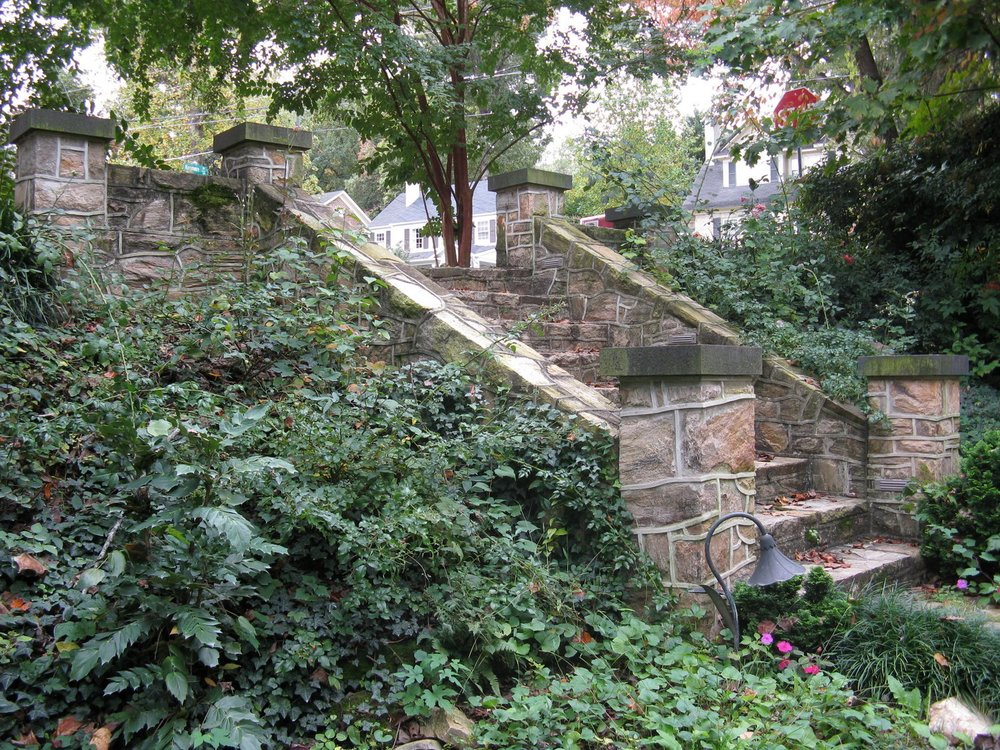 Steps leading from street to bridge