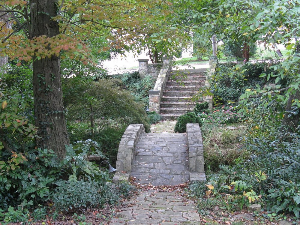 Steps and bridge spanning creek