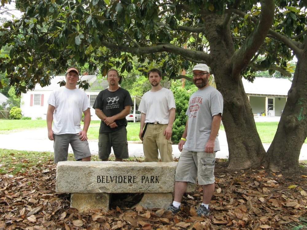 Stone bench at Vale Street entrance into Belvidere Park