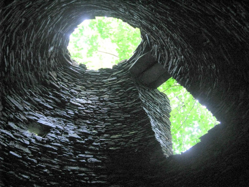 Looking up from inside the charcoal kiln