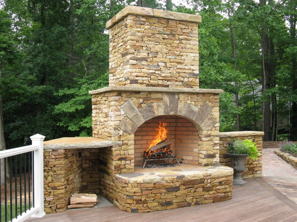 Portfolio european stone masonry llc for Fireplace on raised deck