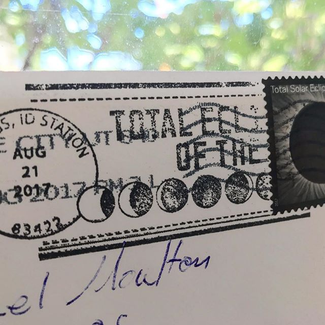 Love everything about this postmark :) #totaleclipse #driggsidaho