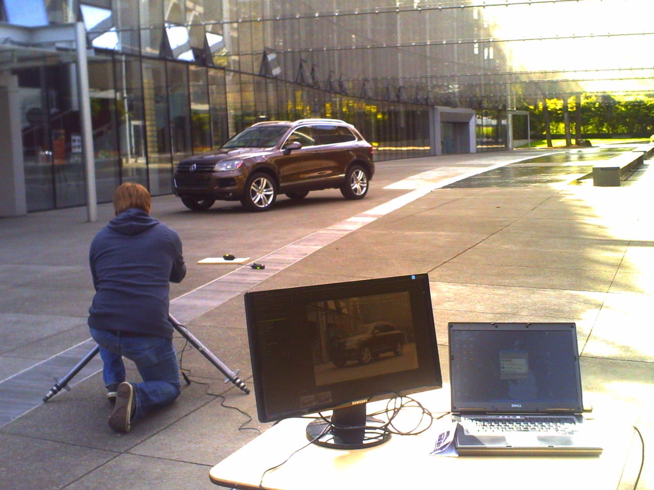 Our shoot was the first photo shoot ever at this location. Apparently the structural architect wasn't sure if the concrete could hold the weight of a vehicle until just a couple of weeks before the shoot. I guess several other automobile manufactures had requesting to shoot here prior to this too. Photographer Scott Gilbert seen here in action, killing it.