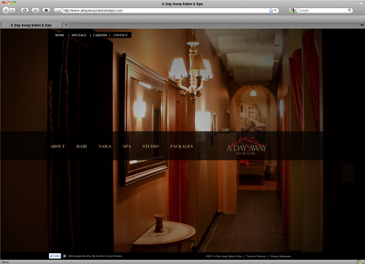 Sideways scrolling site bringing some interweb love to browsers soon! A Day Salon and Spa
