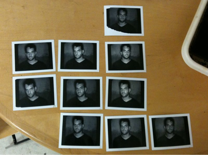 Had my portrait taken today as part of my buddy's photo show. Shooting with positive/negative Polaroid 660 (or 6 something, idk they don't make it anymore though). These are the positives. Final portraits will have 25-30 in the series and each will be about 30in x 30in.