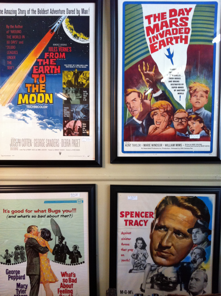 Vintage movie posters. Each one was about 3x4 feet with custom frames. Priced $275-$325.