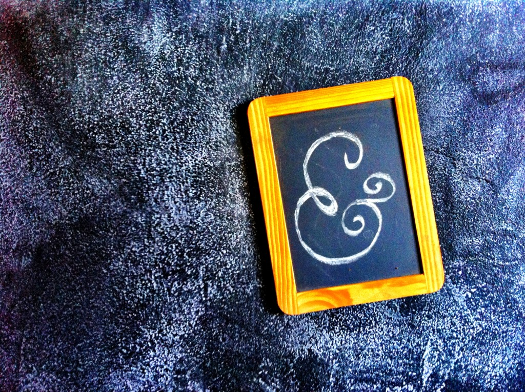 Magnetic chalk board frame I found in the house I rent. Naturally, I put it on my much larger magnetic chalk board wall and drew an ampersand on it.