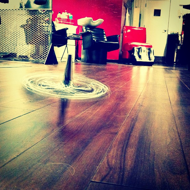 #top #spinning #hair #salon #toy #chrome #hardwood (Taken with instagram)