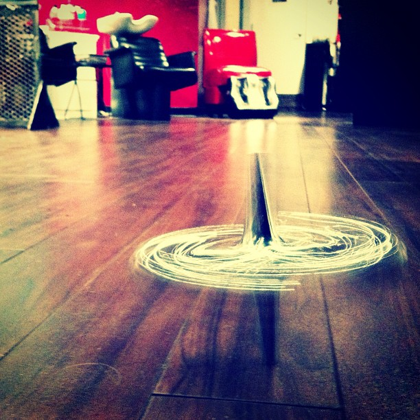 #toy #top #spinning #hair #salon #chrome #hardwood (Taken with instagram)