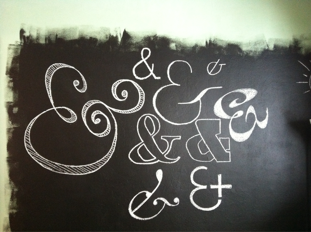 Started in on my chalkboard wall with a series of ampersands.