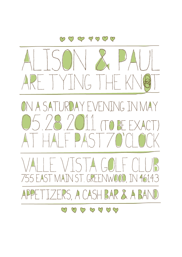 A rejected wedding invite design for my sister last summer.