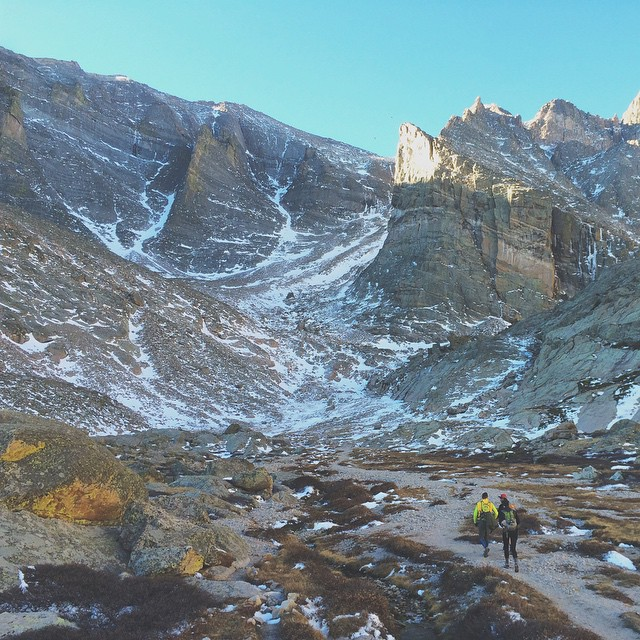 Went for a hike today. This was our approach on Chasm Lake at the base of Longs Peak in RMNP. More photos to come soon. #exploreeverything #alifealive #coloradoinstagram  (at Chasm Lake, Long's Peak)