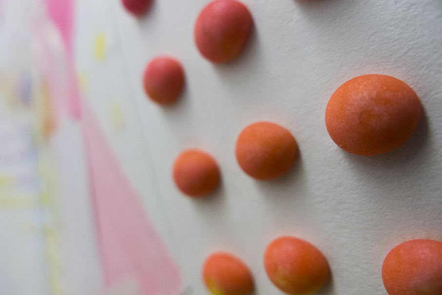 A detail of some of Montgomery's work which includes actual candy.  Photo © Aimee Santos