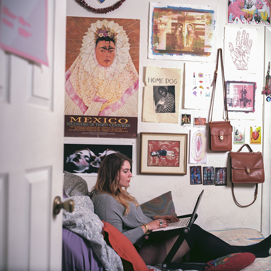 Most of Cetto's work is done in her bedroom, in her bed, in her underwear, editing video.  Photo © Aimee Santos