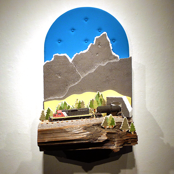 'Canadian Rockies' by Carly Slade. This originally started with a found piece of wood and grew into a mixed media containing ceramic, textiles and found materials. Photo © Aimee Santos