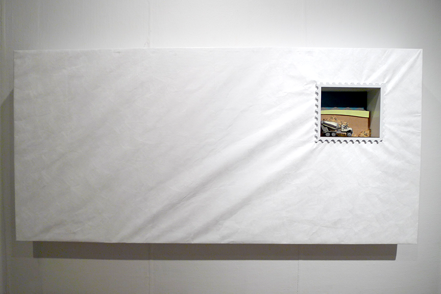 An overall shot of a piece from 'Going Postal.' These 'envelopes' measured over six feet in size. Photo © Aimee Santos