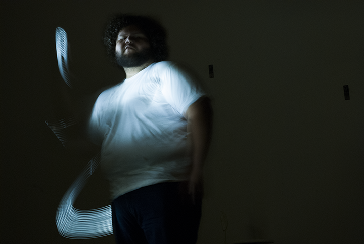 Felix Quintana in his process of photographing light. Photo © Aimee Santos
