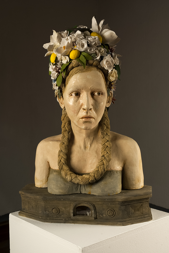 "'California Bloom' Stoneware, Porcelain, Wire, 32""x20""x15"", 2014. Photo © Aimee Santos"