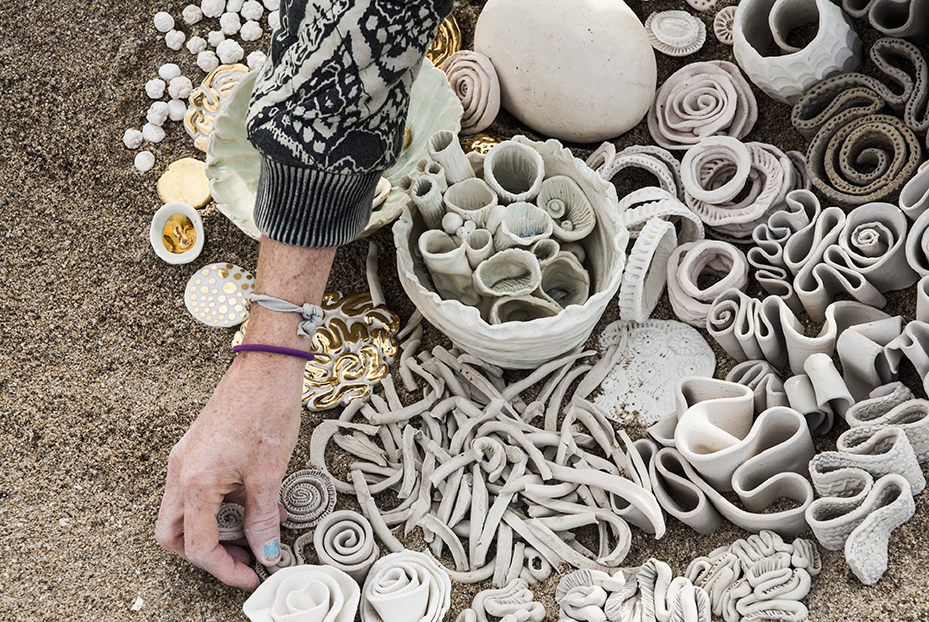 The placement of each piece in Wride's installations is how she operates, even going so far as to carry jars of specific designs together to make sure they are placed in order.  Photo © Aimee Santos