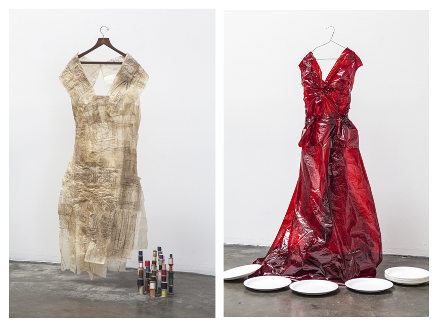 'Sewing Patterns' dress and 'Red Cellophane' dress for 'Reconstructing Self' project by Jane Szabo.  Photos © Jane Szabo Photography