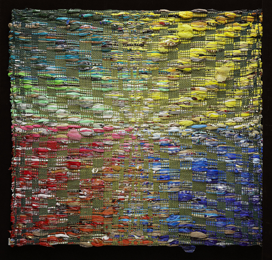 "'Plastic in the Trees' 42""x43"",  Overshot Weaving; Surplus yarn with used plastic bags.  Photo courtesy of the artist."