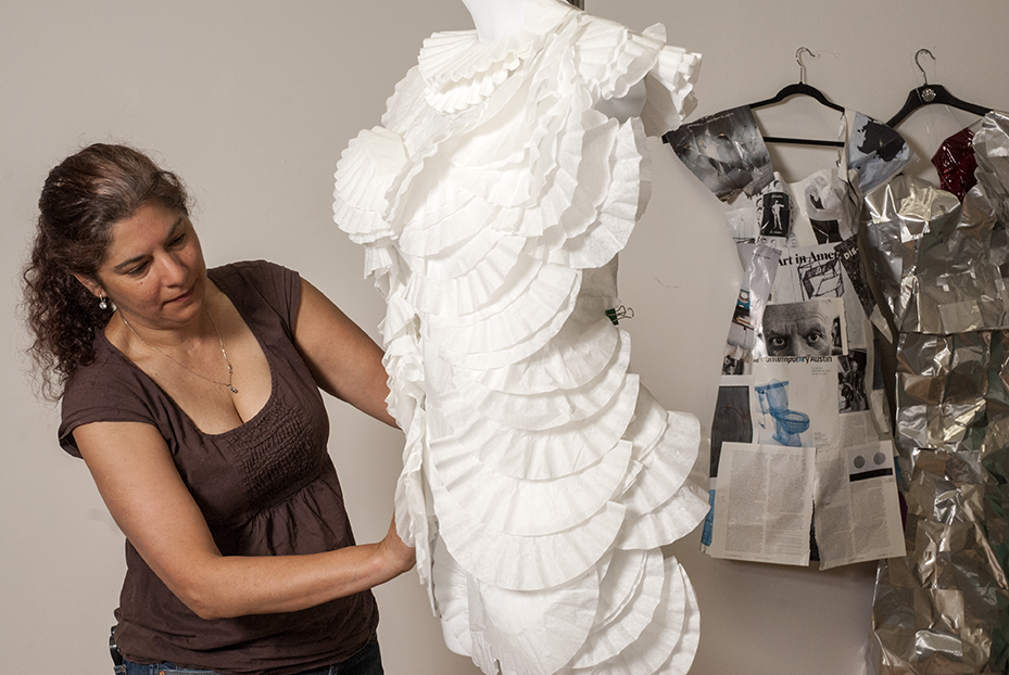 Jane Szabo works on a 'Coffee Filter' dress in her studio at the Brewery Art Colony in Los Angeles, CA. Photo © Aimee Santos