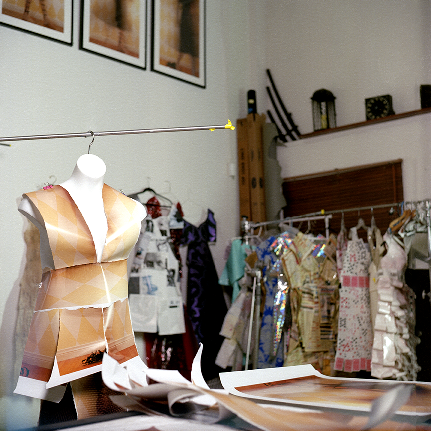 Szabo's dresses hang throughout her studio like a fashion dressing room.  Photo © Aimee Santos