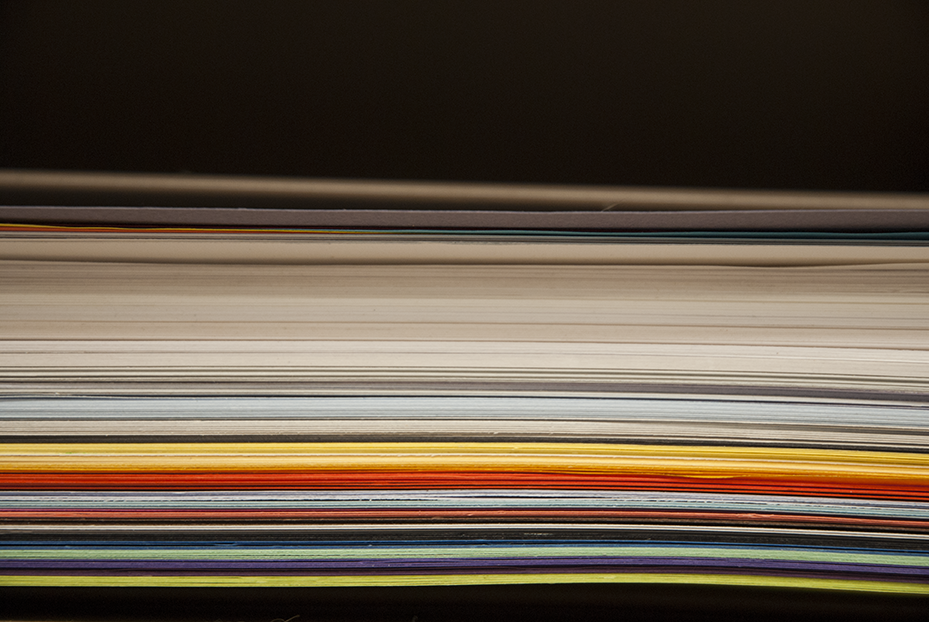 A stack of colored paper in Gratkowski's studio in Gardena, CA.  Photo © Aimee Santos