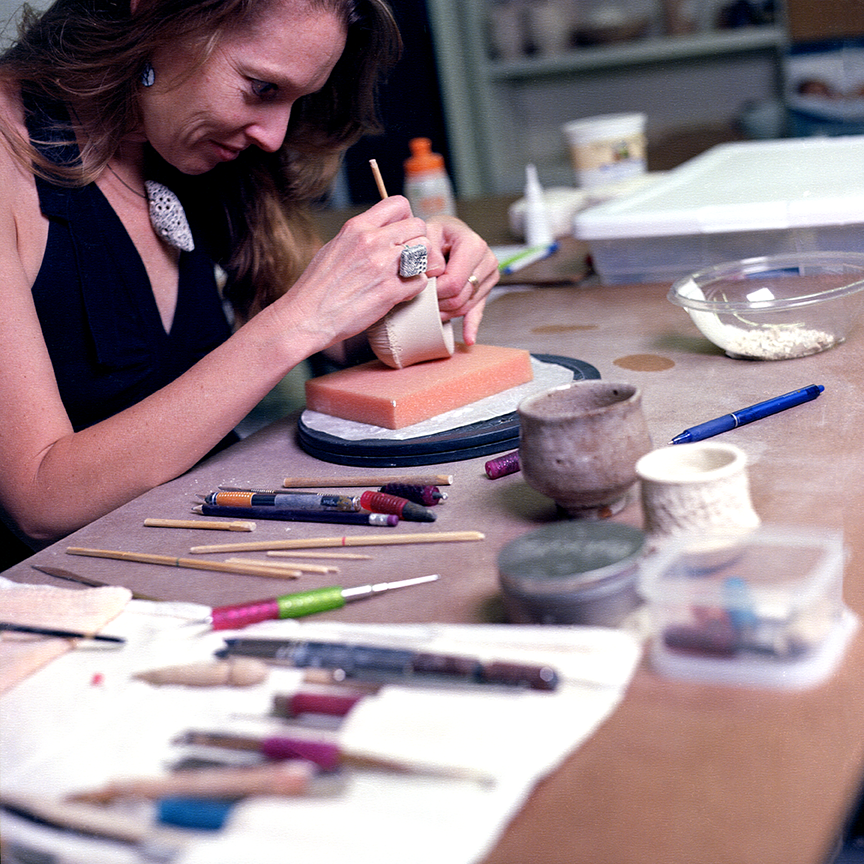 Jilek works out of her studio space at the American Museum of Ceramic Art in Pomona, CA where she is the Assistant Studio Director.  Photo © Aimee Santos