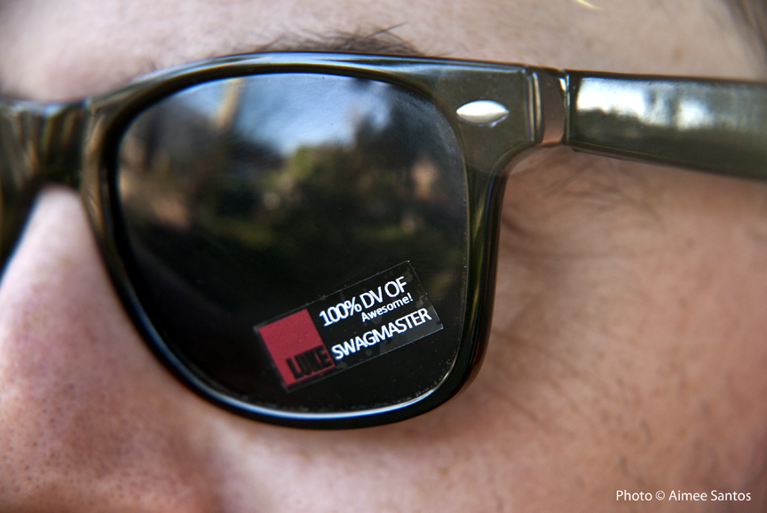 It's all about the details with Luke Haynes even down to finding a vendor to sell him the kind of stickers that go on sunglasses to promote his brand.  Photo © Aimee Santos