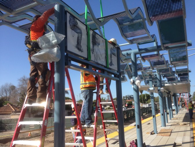 The installation of Abel Alejandre's work at the Westwood/Racho Park Metro Station of the Expo Line opening May 20, 2016. Photo Courtesy of the Artist.