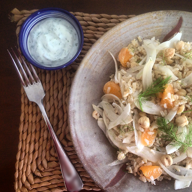 Fennel Mandarin Brown Rice Salad