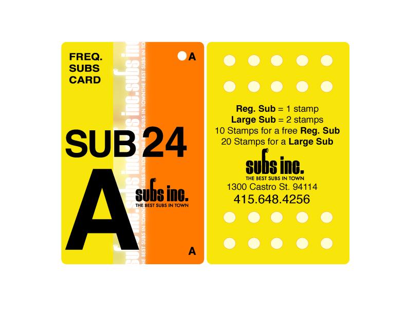 Subs inc. Loyalty Card