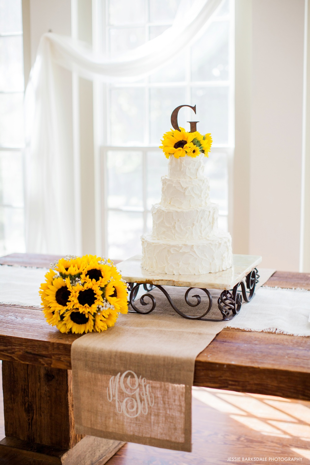 Jessie Barksdale Photography_Elms Coosada_Plantation Home_Barnwood Table_Wedding Cake_Fall Wedding Inspiration_Sunflower Bouquet_Bridal Party_Birmingham Montgomery Alabama Atlanta Wedding Photographer
