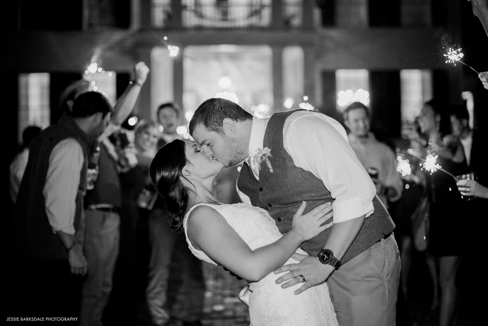 Jessie Barksdale Photography_Elms Coosada_Plantation Home_Sparkler Exit Leave_Bride and Groom Kiss_Fall Wedding Inspiration_Birmingham Montgomery Alabama Atlanta Selma Wedding Photographer