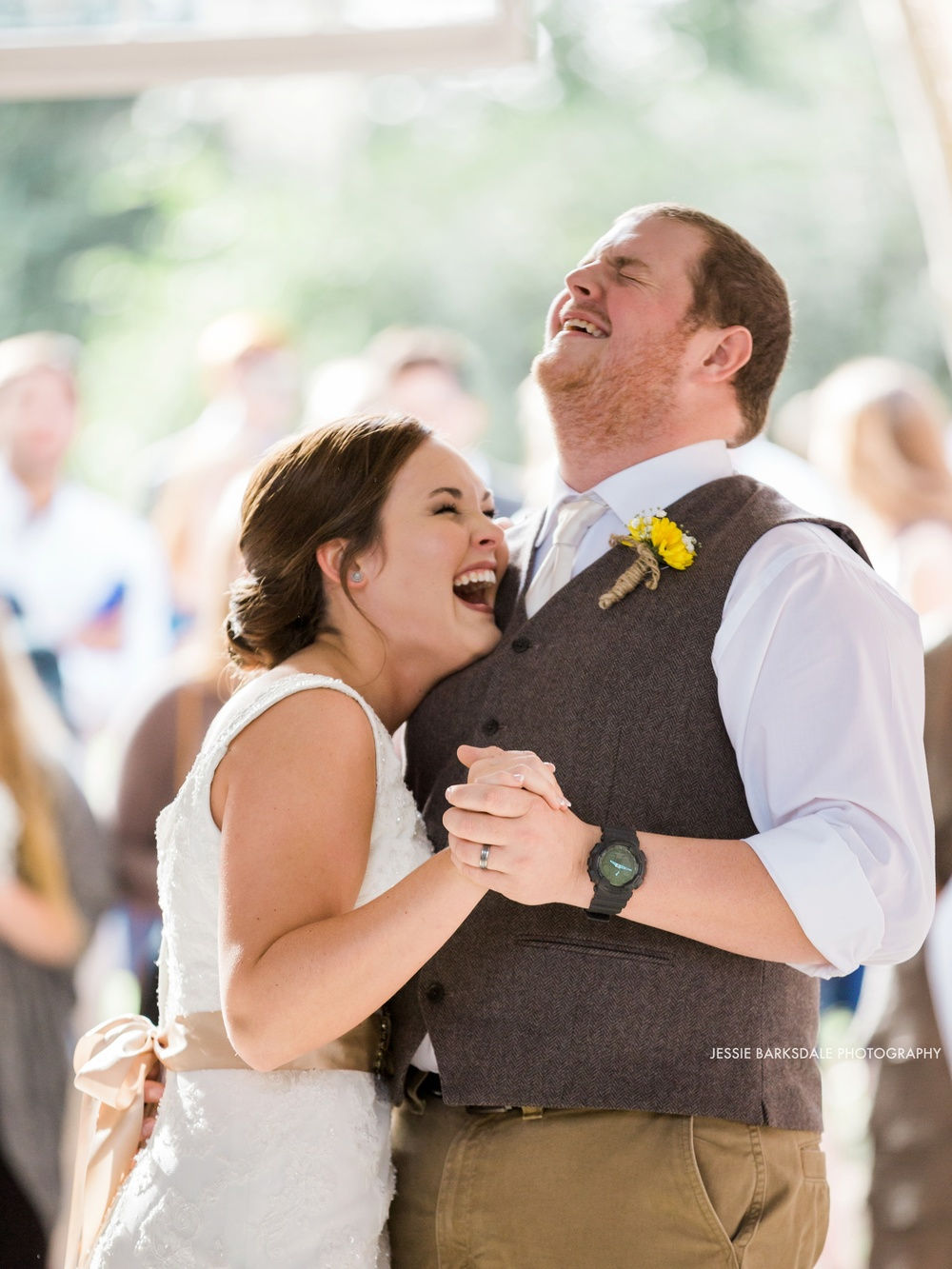 Jessie Barksdale Photography_Elms Coosada_Plantation Home_First Dance Laugh Smile_Bride and Groom_Yellow_Fall Wedding Inspiration_Birmingham Montgomery Alabama Atlanta Selma Wedding Photographer