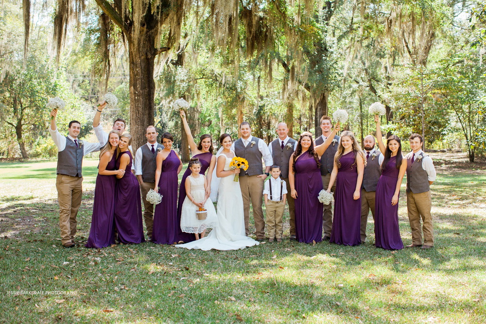 Jessie Barksdale_Elms Coosada_Plantation Home_Fall Wedding Inspiration_Sunflower Bouquet_Bridal Party_Dark Purple Plum Eggplant Bridesmaids Dress_Birmingham Montgomery Alabama Wedding Photographer
