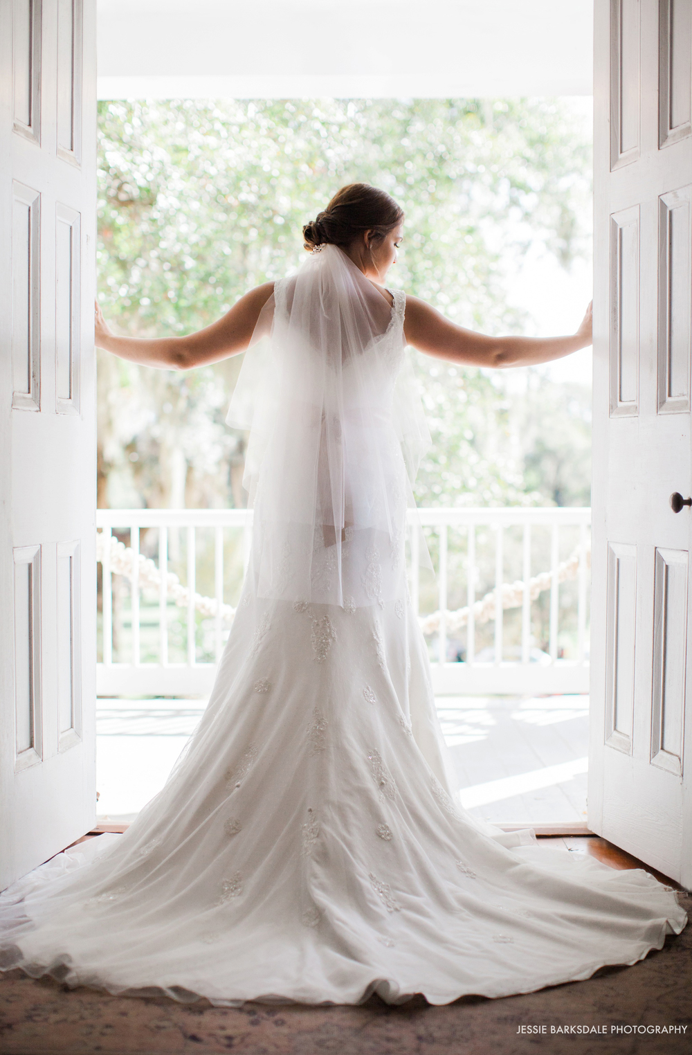 Jessie Barksdale_The Elms Coosada_Southern Plantation Home_Fall Wedding Inspiration_Dramatic Bridal Portrait Doorway_Birmingham Montgomery Alabama Fine Art Film Romantic Wedding Photographer