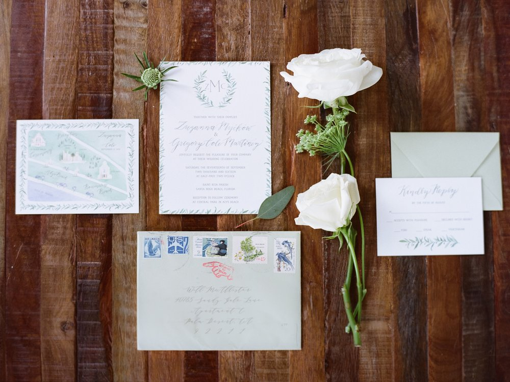 Jessie Barksdale Photography_emily rose ink green white invitation suite