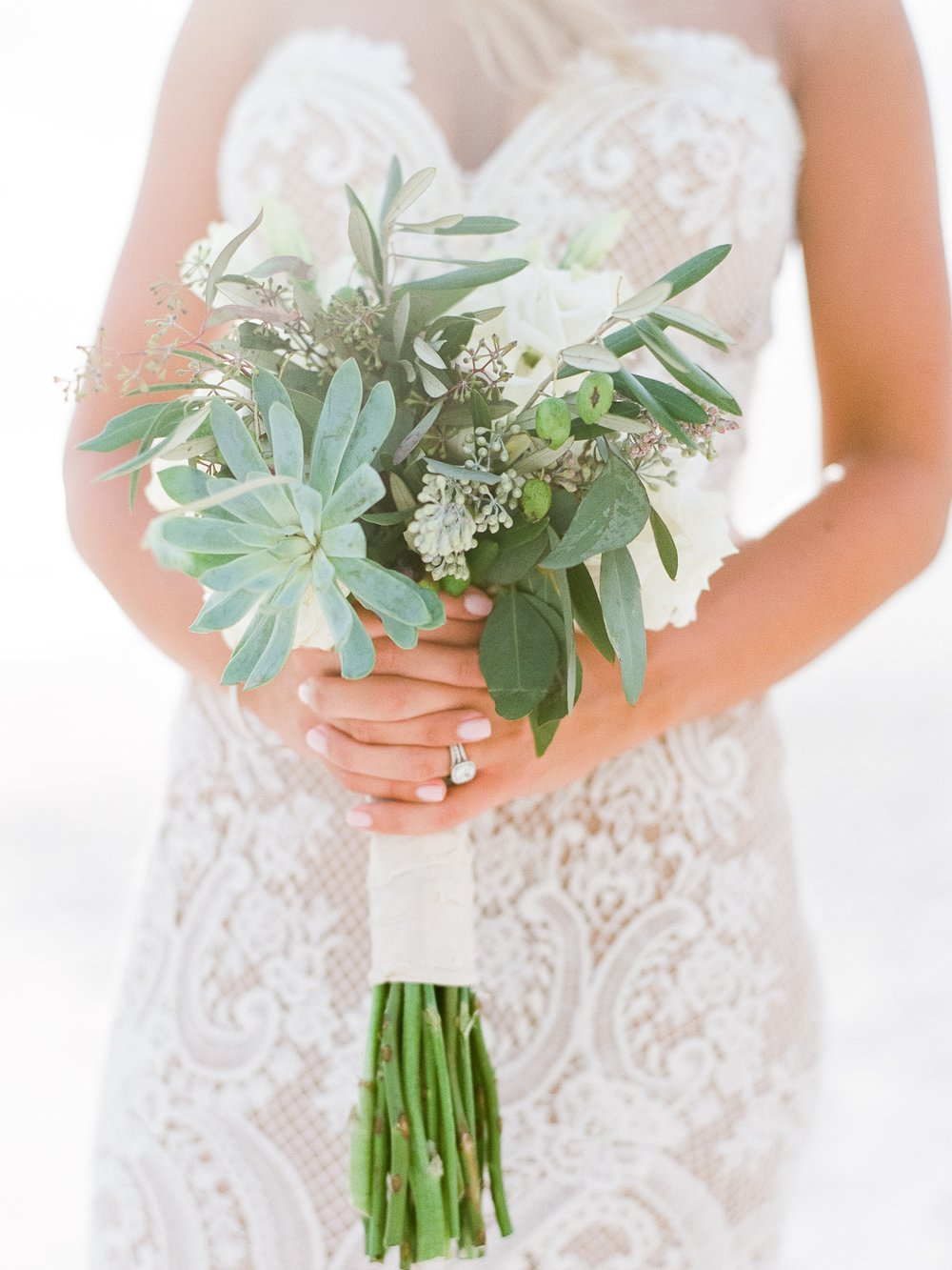 Jessie Barksdale Photography_succulent white rose eucalyptus bouquet beach wedding justine liddy