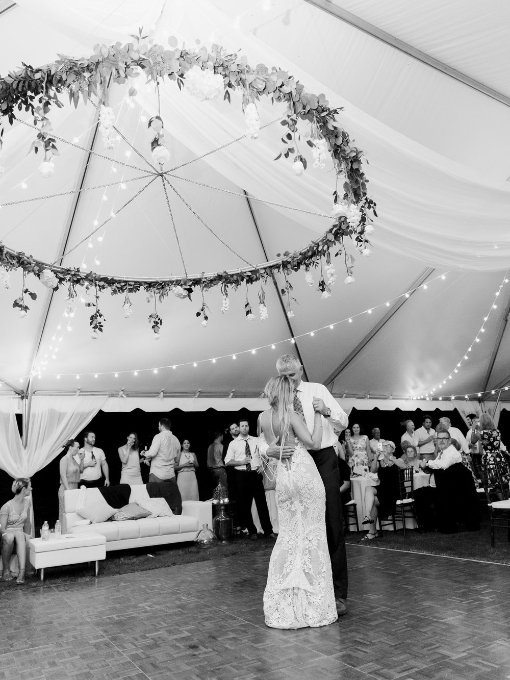 Jessie Barksdale Photography_beautiful floral chandelier_tent reception_first dance