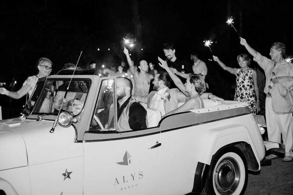 Jessie Barksdale Photography_alys beach jeep getaway car_sparkler exit