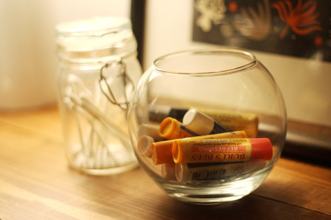My chapsticks and cotton swabsare instantly classed up in these little glass jars.
