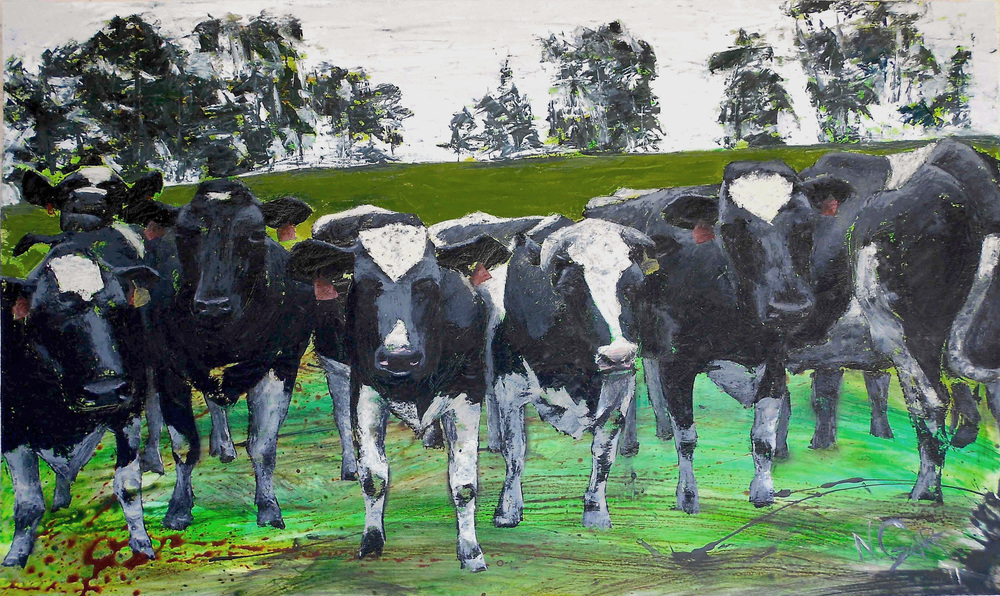 "Cattle Call - oil and acrylic on wood panel 71"" x 47"" w/ frame SOLD"