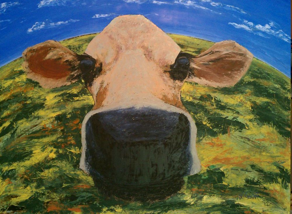 "Show Me Your Cow Face - oil and acrylic on wood panel 61 1/2"" x 49 1/2"" w/ frame"